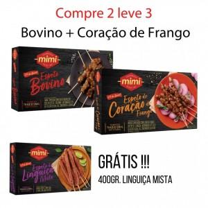 Compre 2 leve 3 :: Espeto Bovino 400g + Espeto Coração de Frango 400g = Grátis Linguiça Mista 400g
