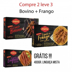 Compre 2 leve 3 :: Espeto Bovino 400g + Espeto Frango 400g = Grátis Linguiça Mista 400g
