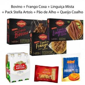 Kit Trio Caixinhas |  Bovino + Frango + Linguiça + Pack Stella Artois + Acompanhamentos