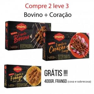 Compre 2 leve 3 :: Espeto Bovino 400g + Espeto Coração de Frango 400g = Grátis Espeto Frango 400g
