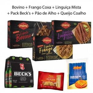 Kit Trio Caixinhas |  Bovino + Frango + Linguiça + Pack Becks + Acompanhamentos