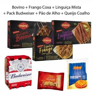 Kit Trio Caixinhas |  Bovino + Frango + Linguiça + Pack Budweiser + Acompanhamentos