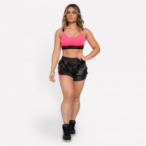 Short Fitness Run em Poli-Tech Feminino - Preto e Rosa