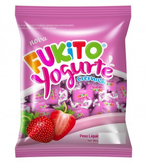 Bala Mastigável Yogurte Morango Fukito Pietrobon 480g