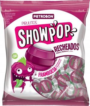 Pirulito Bola Framboesa Showpop Pietrobon 480g