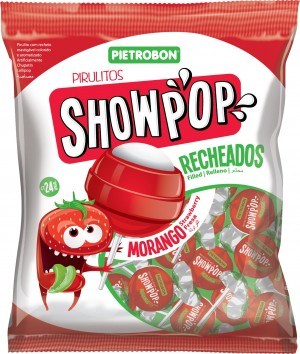 Pirulito Bola Morango Showpop Pietrobon 120g