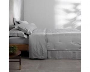 Kit colcha Super King cetim 270 fios buddemeyer luxus Parigi II 100% algodão penteado cinza 3 peças