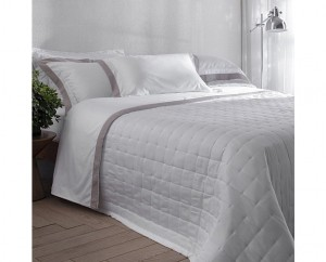 Kit colcha Queen cetim 270 fios Buddemeyer luxus Pois branco 3 peças
