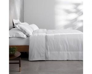 Kit colcha queen cetim 270 fios Buddemeyer luxus Parigi III 100% algodão penteado branco 3 peças