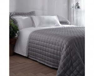 Kit colcha queen cetim 270 fios Buddemeyer luxus Pois 100% algodão penteado cinza dust 3 peças