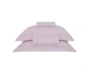 Jogo de cama queen cetim 300 fios buddemeyer Damask square 100% algodão penteado rosa pluma 4 peças
