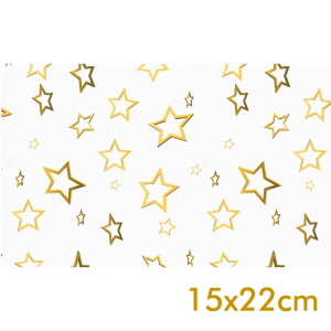 Saco de Presente - 15x22cm - Estrelas Dourada - 50 unidades - SPN-001