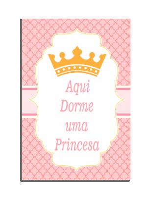 Placa Decorativa Aqui dorme uma princesa... - PDF-015