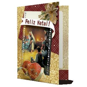 Cartão O nascimento de Jesus os traz paz...- Com aplique - MB-005