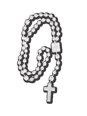 Terço de plástico branco 26cm - T-060