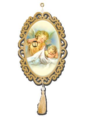 Adorno Oval Santo Anjo - A-038