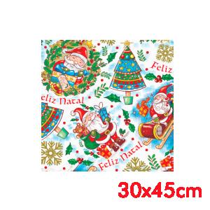 Saco de Presente - 30x45cm - Natal Feliz  - 50 unidades - SPN-007