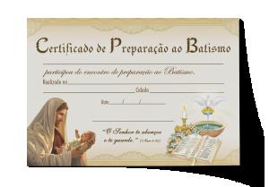 Certificado Preparação ao Batismo - CEP-026