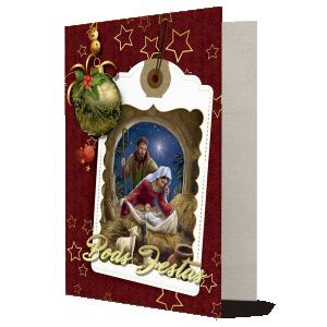 Cartão Celebramos no Natal o nascimento do Menino Jesus... - Com aplique - MB-011