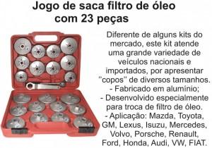 Jogo de saca filtro de oleo com 23 peças