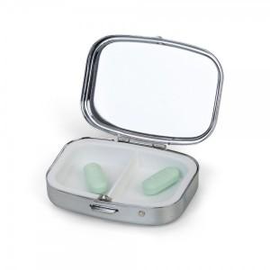 Porta comprimidos metálico com 2 divisórias