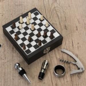 Kit vinho tabuleiro de xadrez