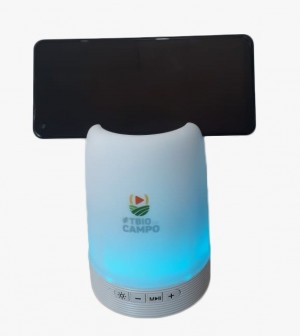 Caixa de som luminária + porta celular + porta canetas