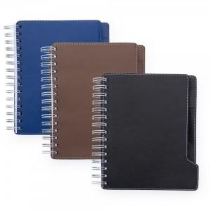 Agenda diária com capa de couro sintético, espiral e suporte para caneta