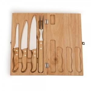 Kit Churrasco 4 peças em estojo de madeira