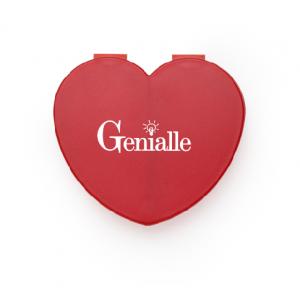 Porta comprimidos em formato de coração com 2 divisórias