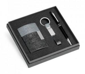 Kit de porta cartões, chaveiro e esferográfica