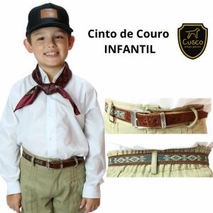 CINTO GAÚCHO INFANTIL DE COURO C/ FITA E FIVELA P-PAMPA (G36) CUSCO