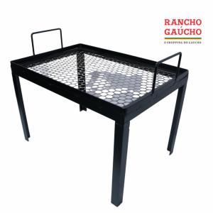 GRELHA DE FERRO PARA LAREIRA COM PÉ (50X33X32) - RANCHO GAÚCHO