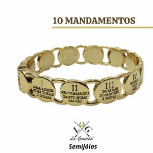 PULSEIRA BANHADA OURO DEZ MANDAMENTOS (95A) LA GAUTCHA