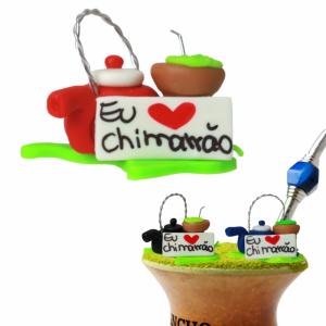 ENFEITE DE CHIMARRÃO BISCUIT LUXO - PLAQUINHA EU AMO CHIMARRÃO