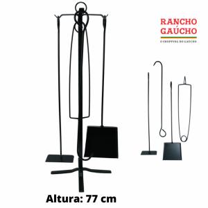 KIT ACESSÓRIOS DE FERRO PARA LIMPEZA DE LAREIRA 77 cm - 5 PEÇAS