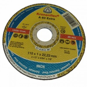 Disco de Corte Kronenflex Ø115x1,0x22,23 mm - Klingspor - A60 Extra (262936)