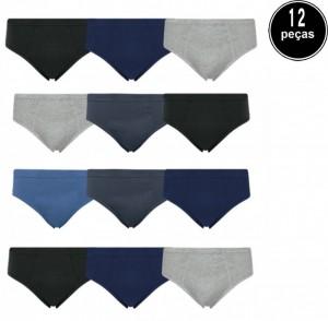 Cueca Slip Selene Elástico Embutido Kit 12 Peças