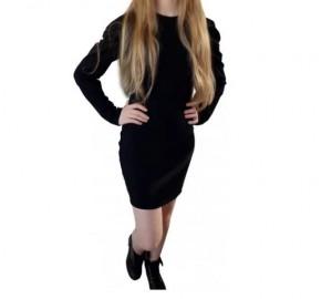 Vestido Manga Longa em Moletinho Crepe cor Preto