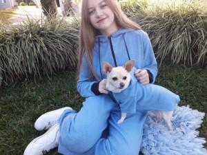 Kit Meu Pet e Eu - Macacão Adulto e Capa com Capuz Para Pet