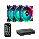 Cooler Fan KIT Aerocool DUO 12 PRO RGB (3x120mm + Controladora + Control Remoto)