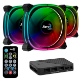 Cooler Fan KIT Aerocool Astro 12 PRO ARGB (3x120mm + Controladora + Control Remoto)