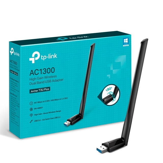 Placa de Red WiFi TP-Link Archer T3U Plus USB Dual Band