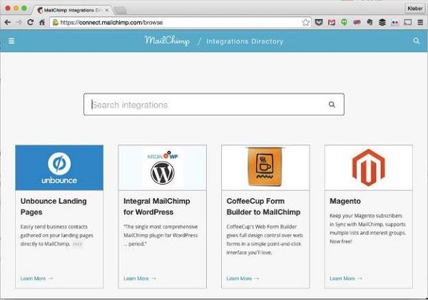Integrações do MailChimp