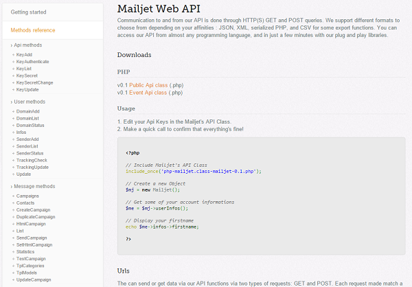 API do MailJet antes