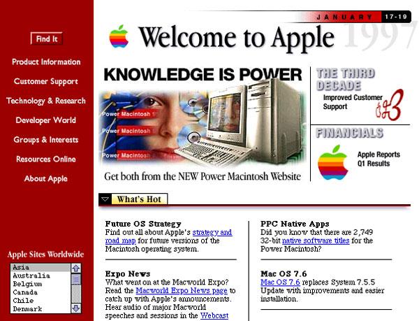 Site da Apple em 1997
