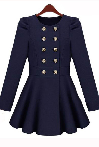 Gossip Girl Double Button Blue Coat - Sheinside.com