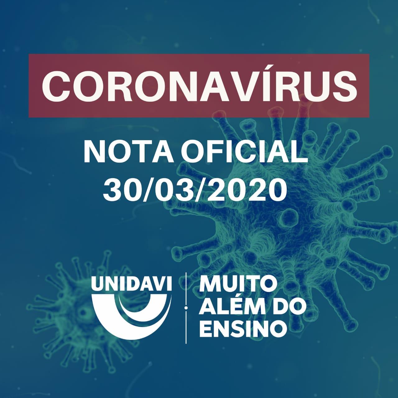 CORONAVÍRUS - NOTA OFICIAL 30.03.2020