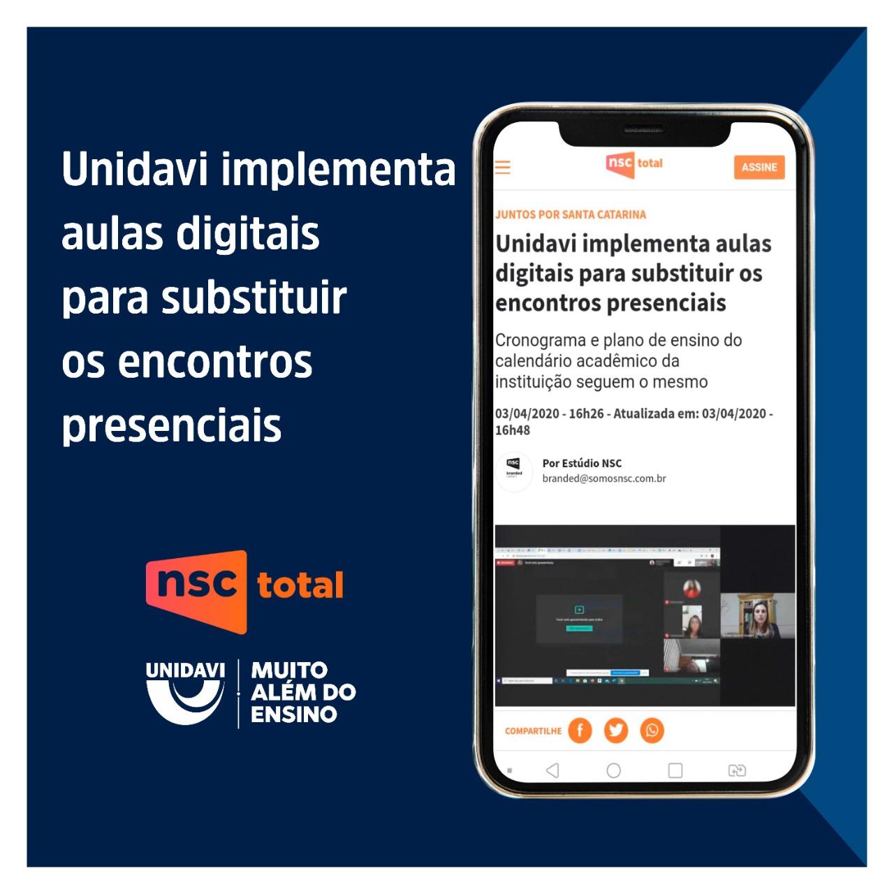 Unidavi implementa aulas digitais para substituir encontros presenciais