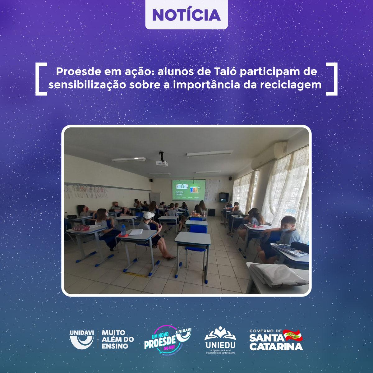 Proesde em ação: alunos de Taió participam de sensibilização sobre a importância da reciclagem